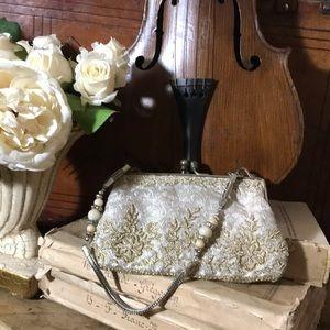 Vintage silk beaded clutch